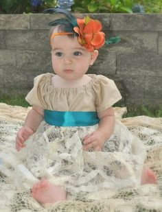 Infant Lace peasant  Shabby chic dress EtsyKids by chachalouise, $55.00