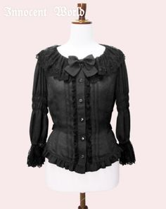 Lace Collar Blouse with 3/4 Sleeves