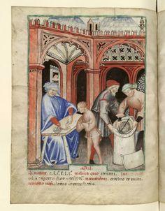 Nouvelle acquisition latine 1673, fol. 66v, Marchand de sel. Tacuinum sanitatis, Milano or Pavie (Italy), 1390-1400.