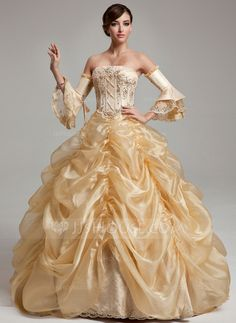 Ball-Gown Strapless Floor-Length Organza Quinceanera Dress With Ruffle Beading Sequins (021017537) - JJsHouse
