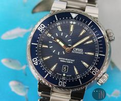"""""""Jump On iN!"""" #Oris 47mm Divers Small Second Date Ref#: 01 743 7609 ($1,500.00 USD) http://www.elementintime.com/Oris-Divers-01-743-7609-Stainless-Steel-Blue-Dial"""