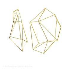 geometric jewelry /// large structure hoops in 18k vermeil (gold)