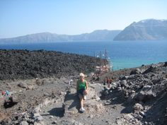 On an active volcano part of what was Santorini, Greece.