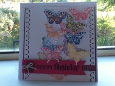 Happy birthday butterfly card made with Stampin up equipment very colorful!