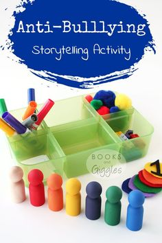 "Anti bullying activities | Ideas for a storytelling basket to go with the picture book ""One"" by Kathryn Otoshi. This would work at home or in a center/station in a classroom."