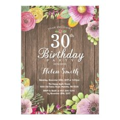 Rustic Floral 30th Birthday Invitation for Women - rustic gifts ideas customize personalize