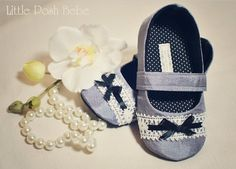 Toddler Shoes Annabella Silver Mary Janes accented with Lace trim and black ribbon (Size 5-13). $30.00, via Etsy.