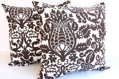 """Decorative pillow covers set of two 16"""" x  16"""" Chocolate Brown Amsterdam damask brown pillow covers brown pillows brown cushion covers"""
