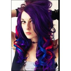 Purple hair with blue and red streaks | Hair | Pinterest | Red... ❤ liked on Polyvore featuring hair