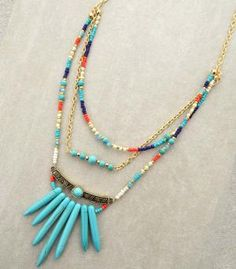 """Multi-Layered Turquoise Bohemian Necklace Approx. 20""""L Matching earrings Lead compliant"""