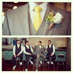 Groomsmen in Grey and yellow