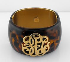 Bosom Buddy Wide Tortoise Cuff - Universal Monogram #mintedandmine #personalized #thegiftinsider