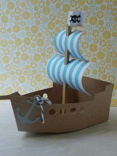 Home Decorating Style 2016 for Pirate Ship Cardboard Cutout Beautiful toilet Roll Sails, you can see Pirate Ship Cardboard Cutout Beautiful Toilet Roll Sails and more pictures for Home Interior Designing 2016 67740 at Cover Letter Examples For Resume. Kids Crafts, Boat Crafts, Diy And Crafts, Paper Crafts, Cardboard Pirate Ship, Cardboard Toys, Pirate Ship Craft, Pirate Birthday, Pirate Theme