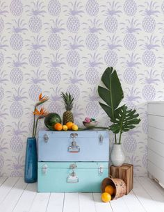 <div>The pineapple has always been seen as a symbol of hospitality and warm welcome. Now you can bring that spirit into any room of your house with this super cute pineapple wallpaper. This funky pattern adds a great splash of color to any room. This print works perfectly as an accent wall in a bedroom or as a central design piece in a tropical beach house or even as am overhead surprise--put it on the ceiling for a unique twist in your living room.</div><div><br>...