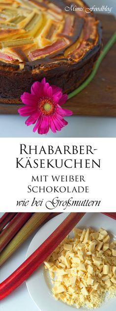 Rhabarber-Käsekuchen mit weißer Schokolade eine wunderbare Kuchenkombination im Frühsommer.