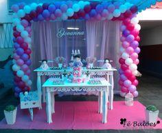 Chá de bebê da Giovanna Trabalho completo realizado por Fê Balões - Desigenr de Balões