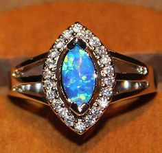 blue fire opal Cz ring Gemstone silver jewelry Size 7 cocktail style $25