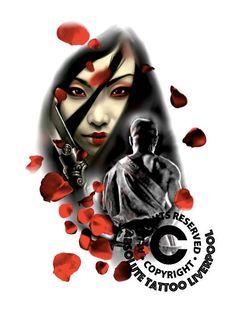tattoo sketch drawings geisha and warrior,