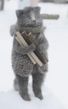 Natasha Fadeeva - Winter cat gathering firewood