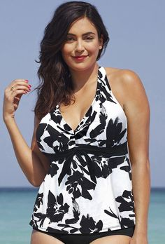 3c8a87638b Black White Floral Halter Tankini Top. Swimsuits For AllPlus Size ...