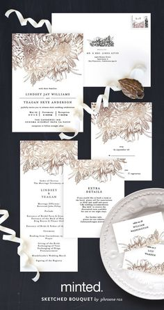 A timeless love story told through the details of Minted artist Phrosne Ras' Sketched Bouquet foil-pressed wedding invitation and reception decor. Available exclusively on www.minted.com/