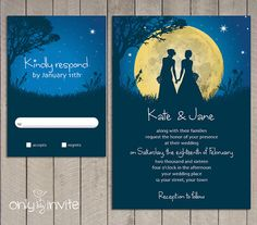 Moon Night for two brides - Same Sex Wedding Invitation Printable by OnlybyInvite