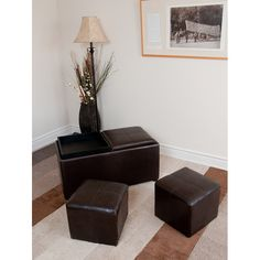 The Franklin 3-Piece Storage Ottoman in Brown Faux Leather with 2 Serving Trays and 2 Small Ottomans is a great value, giving you three practical ottomans in one compact package.