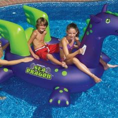 Giant Sea Dragon Ride-on Inflatable Swimming Pool Float Pool Toys Inflatable Pool Toys, Inflatable Float, Giant Inflatable, Float Pool, Cool Pool Floats, Leisure Pools, Swimming Pool Toys, Pool Rafts, Pool Liners