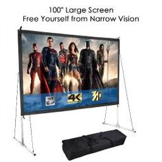 Portable Fast Folding Projector Screen 16 9 HD W/ Stand for Outdoor Indoor for sale online Projector Screen Stand, Portable Projector Screen, Projector Hd, Outdoor Projector, Projection Screen, Air Movie, Screen Material, Home Theater Projectors, Video Home