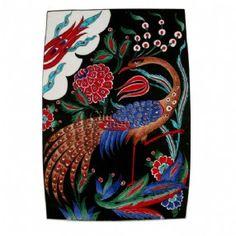 Tavus Kuşu Desenli Uzun Çini Tabak - al8ta8dik002 - Çini Atölyesi, iznik çini…