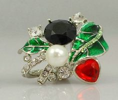 WHR137 White Chapel Flower Green / Red  by Whitechapelbridal