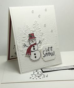 Snowman Hat, Snowman Cards, Cute Snowman, Stampin Up Christmas, Christmas Holidays, Christmas Ideas, Card Crafts, Paper Crafts, Holiday Cards