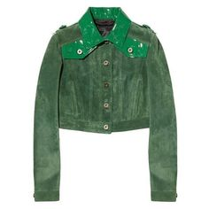 Burberry Prorsum Cropped patent leather-paneled suede jacket ❤ liked on Polyvore featuring outerwear, jackets, patent jacket, green suede jacket, green cropped jacket, green jacket and suede jackets
