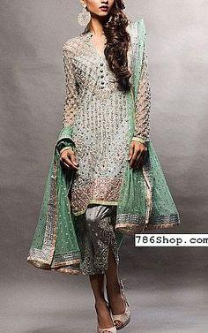 Grey Crinkle Chiffon Suit | Buy Pakistani Fashion Dresses and Clothing Online in USA, UK
