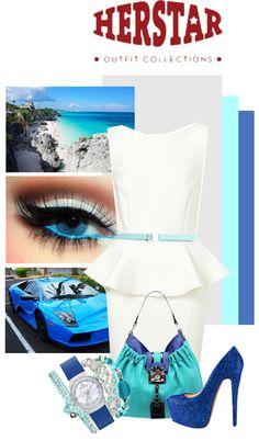 """HERSTAR's Blue KULR Outfit!"" by missmelika on Polyvore"