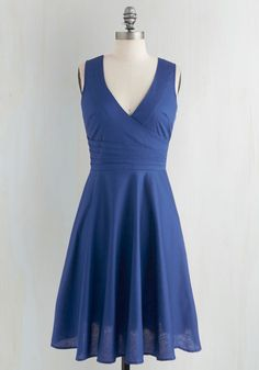 Beguiling Beauty Dress in Blue - Blue, Solid, Pleats, Wedding, Sleeveless, Cocktail, V Neck, Party, Bridesmaid, Full-Size Run, Mid-length, Fit & Flare