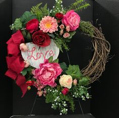 Pink and Red Grapevine Valentine Wreath by Andrea