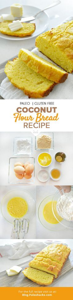 One of the biggest obstacles to my transition over to the Paleo diet was giving up bread but after playing around with all kinds of different flours and recipes Ive come up with a couple that I absolutely love; this coconut bread is one such recipe. Paleo Coconut Flour Bread Recipe, Paleo Bread, Low Carb Bread, Bread Baking, Gluten Free Recipes, Bread Recipes, Cooking Recipes, Healthy Recipes, Healthy Meals