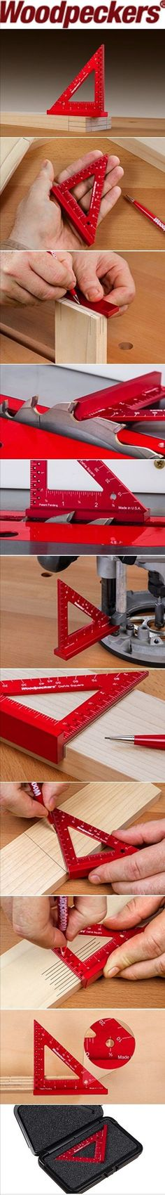 """Woodpeckers - Woodworking Squares  :: Many practical uses packed into a square not even 4"""" long. Joinery Layout Wiz Gauging Tool Measureless Marking Machine Set Up Measurement Tool Angle Marking And More"""