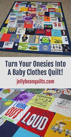 Such a Cute Onesie Blanket! Need to have a baby clothes quilt made soon before my husband chucks all these bins of clothes lol. jellybeanquilts.com