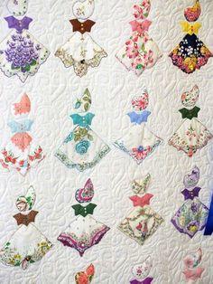Quilt using vintage handkerchiefs