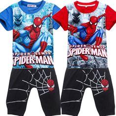 2pcs/set baby boy clothes spring 2017 bodysuit kids clothes spiderman children clothing sets summer costume t shirt and pants