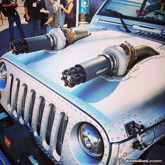 Jeep with twin turbo and Tailgunner exhaust tips as intakes, by River Raider. Jeep Mods, Truck Mods, Jeep Tj, Jeep Truck, Pickup Trucks, Hummer Truck, Custom Jeep, Custom Trucks, Custom Cars