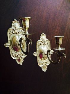 Brass Wall Sconce Candle Holder, Wall Sconce Pair, Brass Decor, Victorian Decor, Home Decor