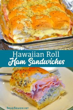 Hawaiian Roll ham sandwiches are the perfect recipe made with a buttery poppy seed mustard sauce, ham, and swiss cheese on King's rolls and then baked to the perfect ham and cheese sandwiches. #HawaiianRolls #HamAndCheese #DinnerIdea #EasyRecipes Hawaiian Roll Ham Sandwiches, Rolled Sandwiches, Deli Sandwiches, King Hawaiian Rolls, Kings Hawaiian, Ham Recipes, Cooking Recipes, Field Meals, Ham Rolls