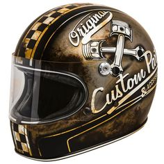 """PREMIER Trophy """"OP 9 BM"""" full face retro motorcycle helmet with used look and rust textures. Comes with ECE safety standard. Classic Motorcycle Helmet, Custom Motorcycle Helmets, Custom Helmets, Motorcycle Outfit, Bobbers, Gs500, Helmet Accessories, Full Face Helmets, Half Helmets"""