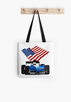 Blue Race Car with American Flag by #Gravityx9 at #Redbubble #RaceCar