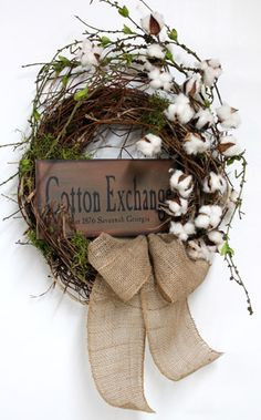 Natural Raw Cotton, Primitve Country Wreaths