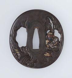 Tsuba with design of Kan'u (Guan Yu) and Shokatsuryo (Zhuge Liang) Edo period mid-19th century - Mito School http://www.mfa.org/collections/object/tsuba-with-design-of-kanu-guan-yu-and-shokatsuryo-zhuge-liang-11723