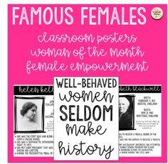 All of the posters include basic information about the women as well as fun facts! The first page is a poster to go along with the others - potentially used as a bulletin board display! If there is a woman that you would like to see included, just send me a message!